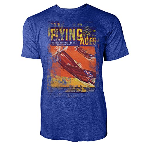 SINUS ART® Flying Aces Herren T-Shirts stilvolles blaues Cooles Fun Shirt mit tollen Aufdruck