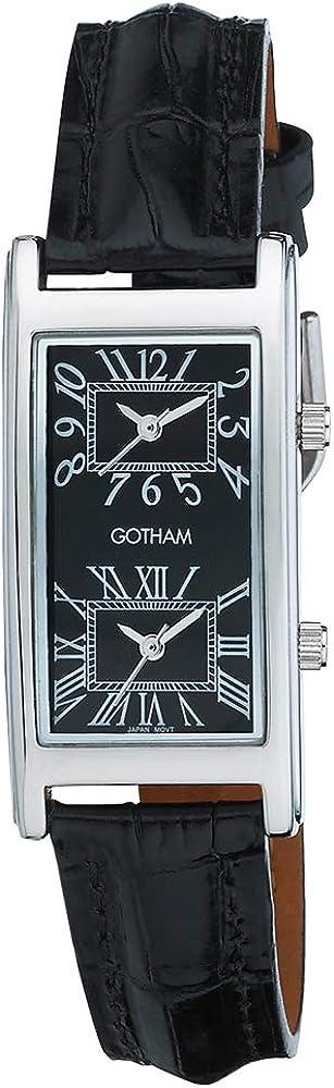 Gotham Unisex Silver-Tone Dual Time Zone Leather Strap Watch GWC15090SB