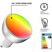 QingZhou Focos Inteligentes LED GU10 WiFi RGB 5W Smart Candelabra Bombillas Funciona con Amazon Echo Alexa y Google hogar Asistente Equivalente a 50W