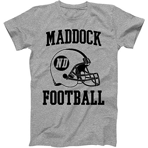 Vintage Football City Maddock Shirt for State North Dakota with ND on Retro Helmet Style Grey Size -