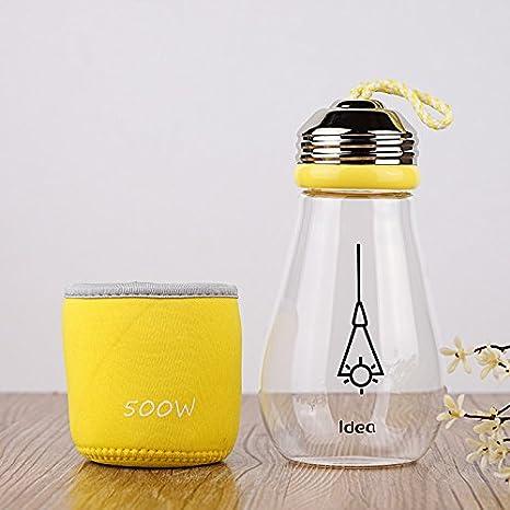 TIANLIANG04 El vidrio de la bombilla de luz taza de agua para estudiantes masculinos y femeninos