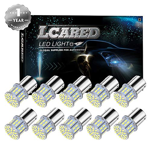 LCARED 1156 led bulb Super Bright Xenon White rv led lights 1156 1141 1003 1073 BA15S 7506 50 SMD 3014 LED Replacement Light Bulbs for RV Indoor Lights Pack of 10