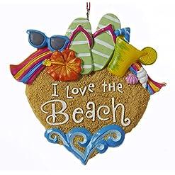Beach Themed Christmas Ornaments Kurt Adler I Love The Beach Sandals Sunglasses Shells Christmas Ornament beach themed christmas ornaments