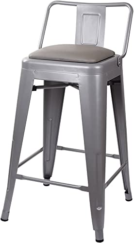 GIA 24-Inch Low Back Stool with Faux Leather Seat, Gray Gray, 1-Pack