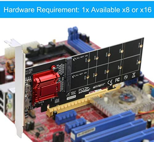 Dual NVMe PCIe Adapter, RIITOP M.2 NVMe SSD to PCI-e 3.1 x8/x16 Card Support M.2 (M Key) NVMe SSD 22110/2280/2260/2242/2230