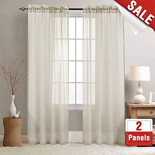 (Sheer Curtains 84 inches Long for Living Room Rod Pocket Sheer Window Curtain Panels for Bedroom Voile Curtain Set (1 Pair, Nature))