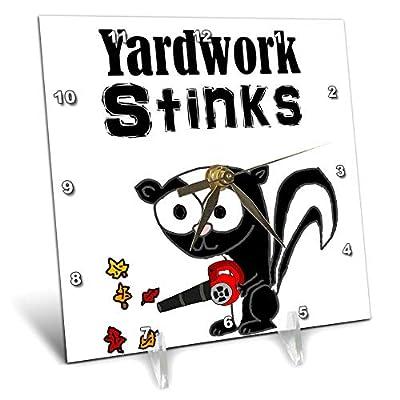 3dRose All Smiles Art - Funny - Cute Funny Yardwork Stinks Skunk Using Leaf Blower Cartoon - Desk Clocks