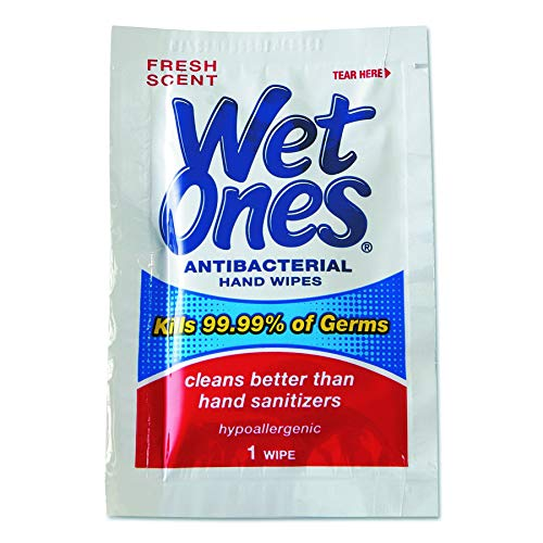 Wet Ones 4723 Antibacterial Moist Towelettes, 5 x 7 1/2, White, 1-Ply, 240 Wipes per Carton (Renewed)