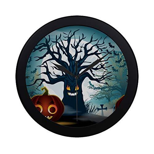 (APJDFNKL Modern Simple Halloween Scary Tree Pumpkins Wall Clock Indoor Non-Ticking Silent Quartz Quiet Sweep Movement Wall Clcok for Office,Bathroom,livingroom Decorative 9.65)