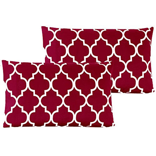 Mellanni Luxury Pillowcase Set Brushed Microfiber Printed Bedding - Wrinkle, Fade, Stain Resistant - Hypoallergenic (Set of 2 King Size, Quatrefoil Burgundy - Red) (Red King Pillowcases)
