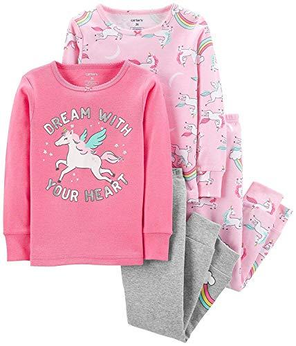 Carter's Girls' 4-Piece Snug Fit Cotton Pajamas (Pink/Unicorn/Dreams, 14) ()