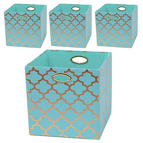 Posprica Storage Bins, 13×13 Foldable Storage Cubes Baskets Boxes Containers Closet Organizers,More Durable Fabric Drawers (4pcs, Aqua/Gold -