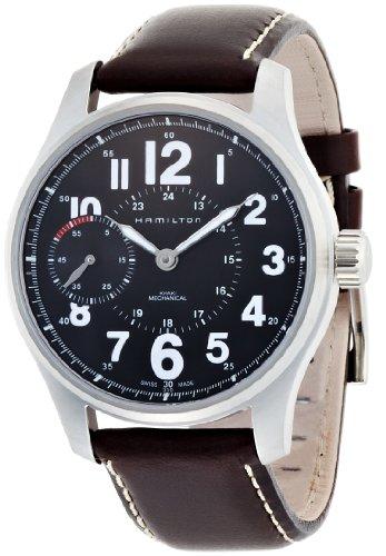 Hamilton Mechanical Watches - Hamilton Khaki Field Mens Brown Strap Black Dial Stainless Steel Watch H69619533