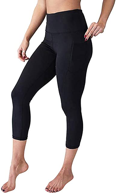 iCJJL High Waisted Capri Leggings with Pockets for Women Mesh Patchwork Seamless Workout Running Yoga Pants