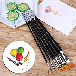 BOying Long Pole Acrylic Watercolor Oil Gouache Paint. Best Art Supplies Painting Brush Set. Professional 6pcs Paintbrushes for Artists with Carry Case Travel Kit.