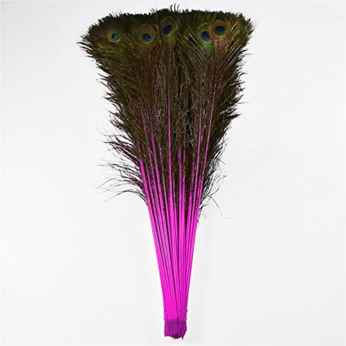 (100pcs 100% Natural Peacock Feathers Dyed Rose 70-80CM/28-32inch for DIY Costume mask)