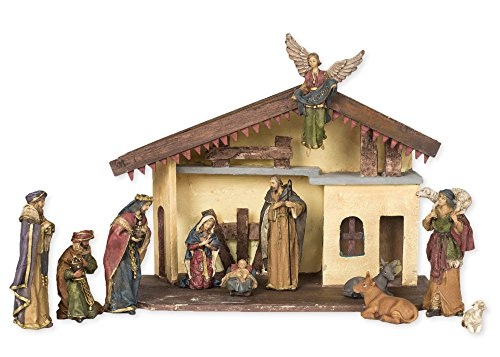 12 Pc Resin 15 x 7 Creche Full Christmas Nativity Set Clay Nativity Set