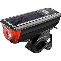 Redlemon Luz Delantera para Bicicleta de Carga Solar Impermeable con Claxon Sensor de Luz y Batería Recargable de Larga Duración. Utilízala como Power Bank 5 Modos de Iluminación