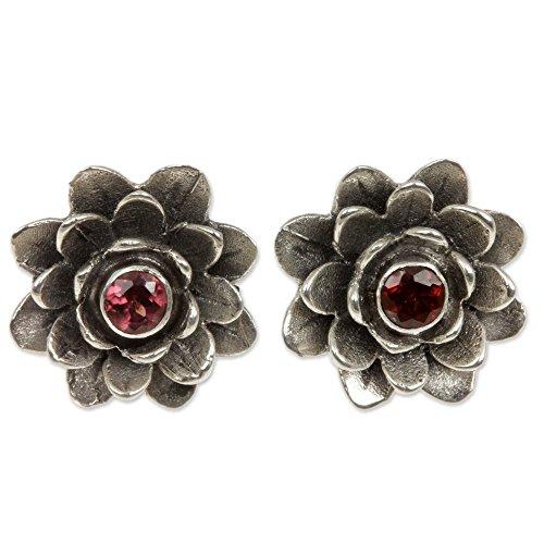 NOVICA Garnet .925 Sterling Silver Flower Button Earrings 'Red-Eyed Lotus'