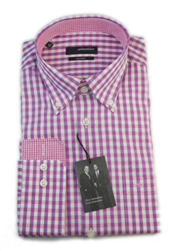 Seidensticker Hemd Splendesto Regular Fit Button-Down-Kragen lila (Brombeer) / weiß kariert mit Patch Gr. 38 - 40 / 185948.47