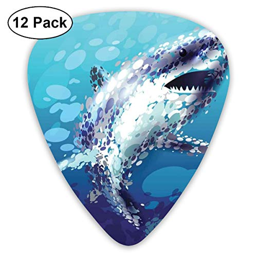 Droplet Figure - Guitar Picks 12-Pack,Digital Made Psychedelic Shark Figure With Droplets Scary Atlantic Beast