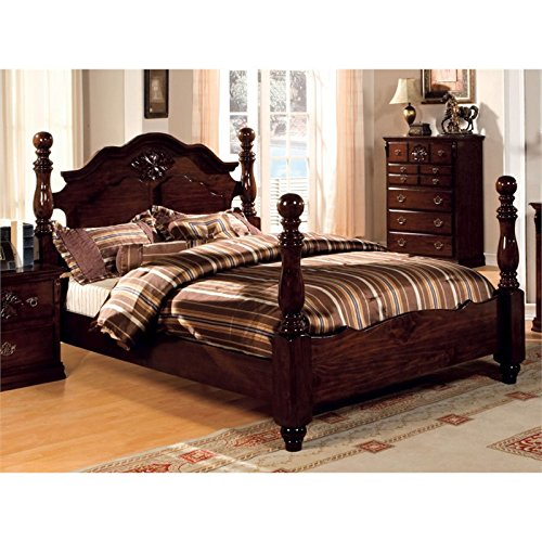Furniture of America Scarlette Classic Four Poster Bed, Queen, Glossy Dark Pine (Poster Pine Four Bed)