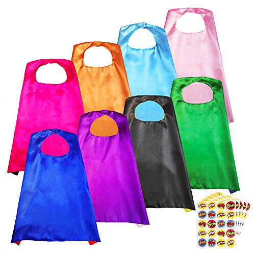 Hero Capes Super (Superhero Capes, Party Dress Up Cape, Reversible Dual Color Party Costume with 100 Superhero Stickers for Kids--8)
