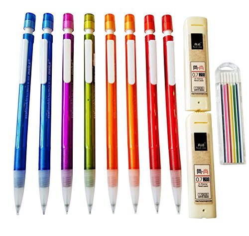 8 pack of Mechanical Pencils with 2 packs of #2 lead refills, and pack of Color Lead refill (0.7 mm) - Lead Refill Pack