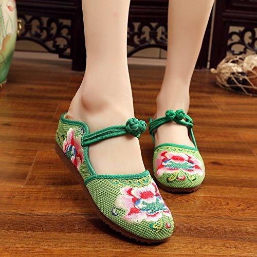 WXT Zapatos bordados, lenguado de tendón, estilo étnico, flip flop femenino, moda, sandalias cómodas y casuales Green