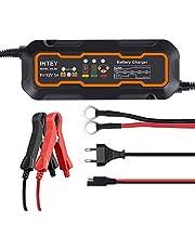 INTEY Cargador de baterías Coche, Mantenimiento Automático e Inteligente, 5A - 6/12V, 5 Etapas Discernimiento, 3 Cargas de segmentación
