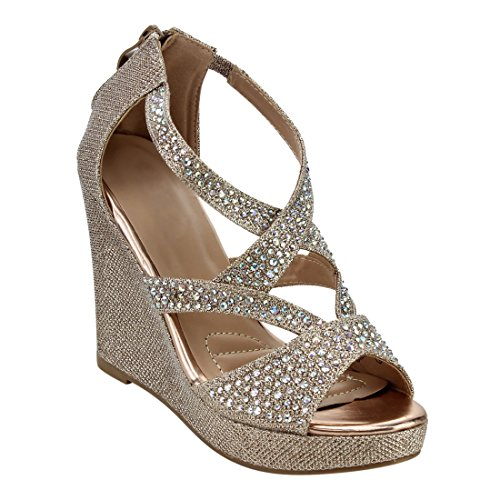 Wedges Dance (Women's Platform Wedge Sandal Rhinestone Criss Cross Strap Back Zipper Dress Dance Heeled Summer Shoes Champagne 10)