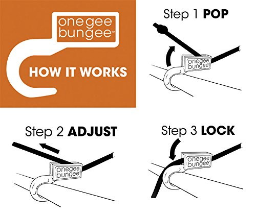 "Onegee Bungee Heavy Duty Adjustable Bungee Cord From 6"" to 72"" - 2 pack"