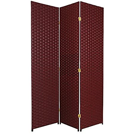 Oriental Furniture Low Cost Home Office Partition Divider 3 Panel 6-Feet Woven Fiber Room Divider Black