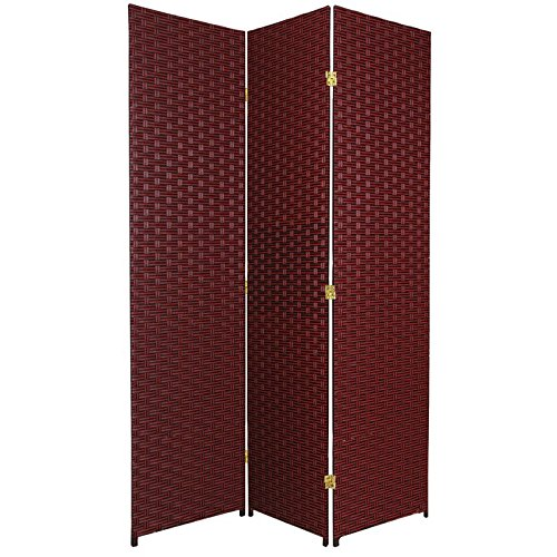 Oriental Furniture 6 ft. Tall Woven Fiber Room Divider - 3 Panel - Red/Black - Three Panel Black Screen
