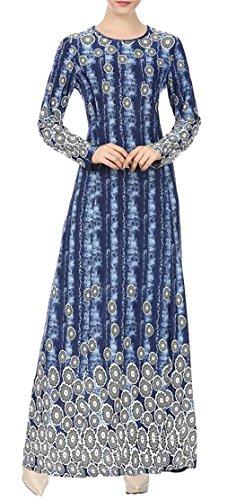 Domple Stampa Lungo Vestito Womens Girocollo Caftano Blu Elegante Maxi Musulmano S7WdPq