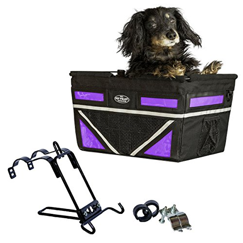 Travelin K9 Pet-Pilot MAX Dog Bicycle Basket Carrier | 2019 Model with 9 Color Options for Your Bike (Purple Passion)