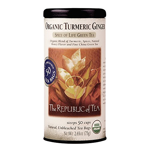 The Republic Of Tea Organic Turmeric Ginger Green Tea, 50 Tea Bags, Gourmet Green Tea And Turmeric Tea (Green Ginger Tea)