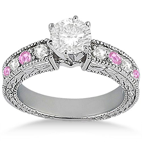 Stone Precious Pink Sapphire (Genuine Diamond and Pink Sapphire Engagement Ring Precious Gemstone Palladium (0.75ct) GH/VS)