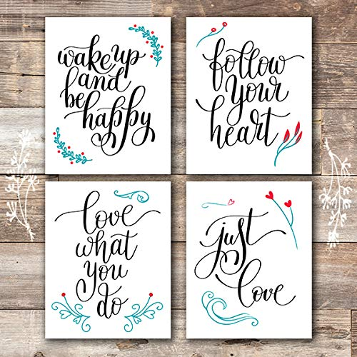 Inspirational Art Prints (Set of 4) - Unframed - 8x10s | Typography Wall Art