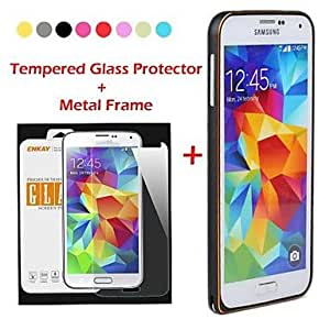 HJZ Metal Style Frame Bumper Case with Tempered Glass Screen Protector for Samsung Galaxy S5 i9600 (Assorted Colors) , Black