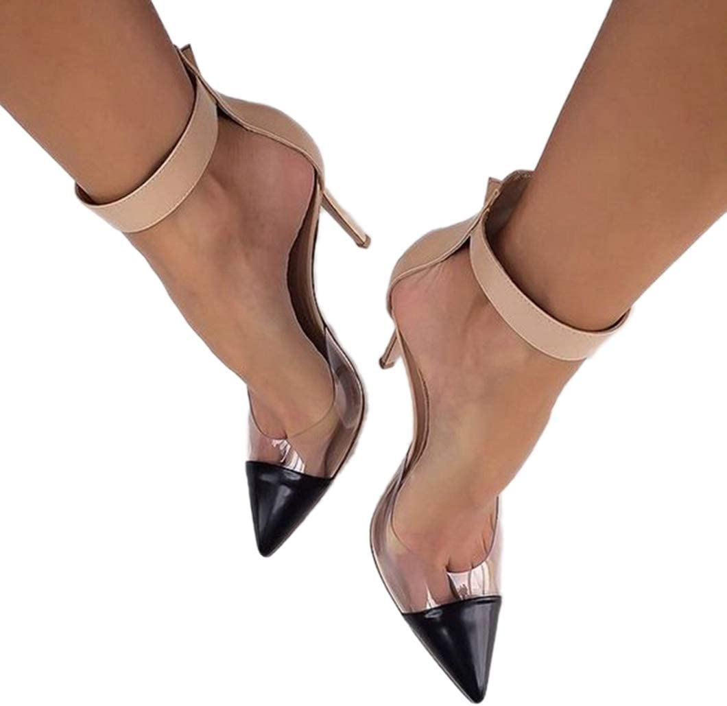 ODOKAY Women Heeled Sandals Transparent High Heels Clear Dress Pointed Toe Ankle Strappy Buckle Sadal