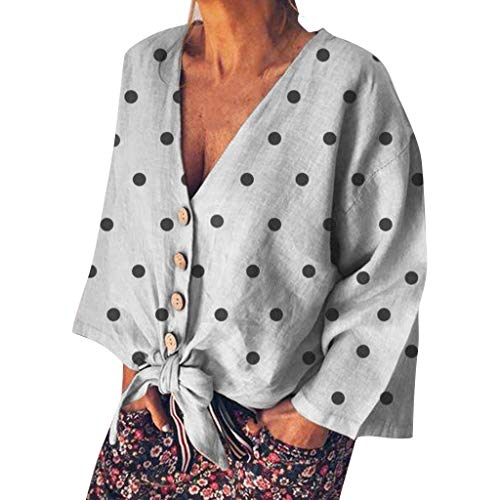 POQOQ Tunic Women's Casual Long Sleeve V Neck Polka Dot Top Elbow Patches Blouse Shirt(Gray,3XL)]()