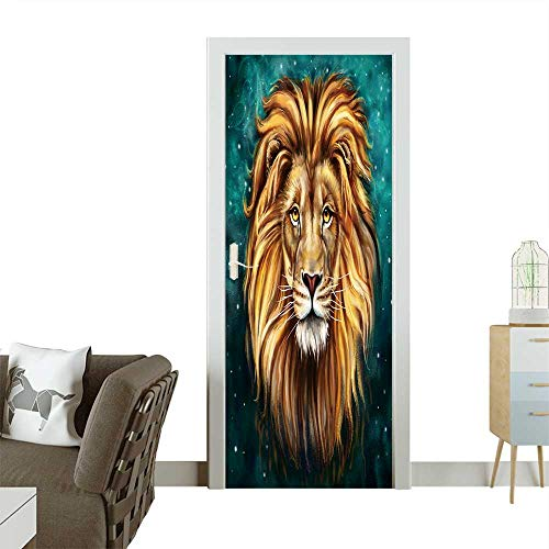 Homesonne 3D Photo Door Murals Lion Aslan Digital Painting Lion Aslan Easy to Clean and Apply W32 x H80 -