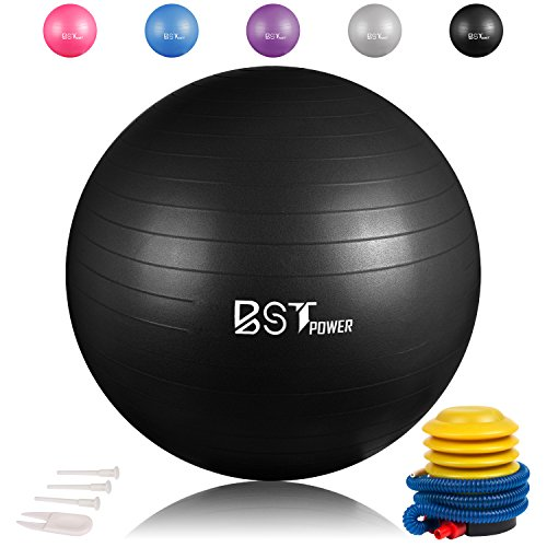 Fourheart Exercise Ball,Anti-Burst Slip-Resistant Extra Thick Balance Stability Yoga Ball(45-85cm),Supports 2000lbs with Quick Foot Pump,Perfect for Home Gym Core Strength Yoga Fitness (Black, 55cm)