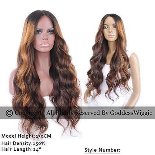 Goddess Wiggie Human Hair Lace Front Wigs 130% Density Brazilian Virgin Hair Long Wavy Beautiful Ombre Highlight Color Lace Front Human Hair Wigs For Black and White Women With Baby Hair(22inch) by Goddess Wiggi (Image #2)