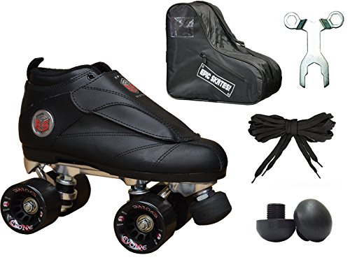 Mens Jam Roller Skates (New! Epic Skates Black Evolution Quad Roller Jam Speed Skates & Bag Bundle! (Mens 10))