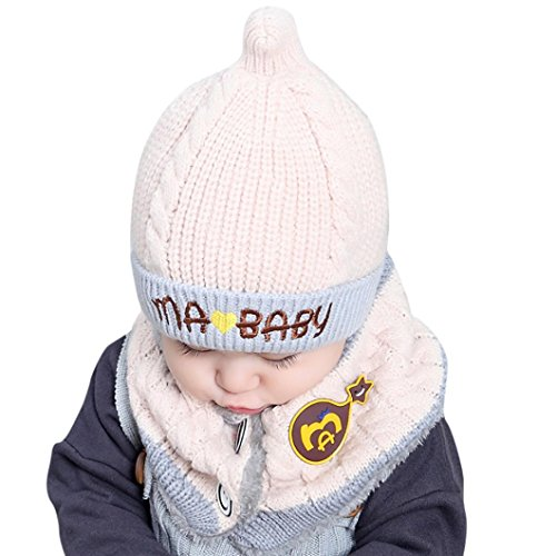 Lucoo Christmas Fashion soft comforable Baby Boys Girls Beanie Letter Cotton Hat Children Print Hats Knitting Hats (White) (Ralph Lauren Baby Boy Beanie)