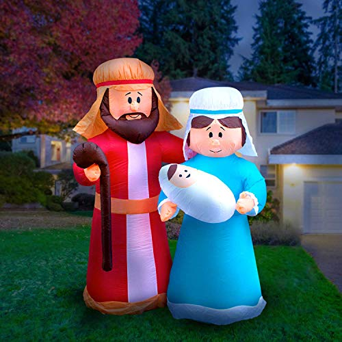 Holidayana 6ft Inflatable Christmas Mary and Joseph Decoration, Includes Built-in Bulb, Tie-Down Points and Powerful Built in Fan