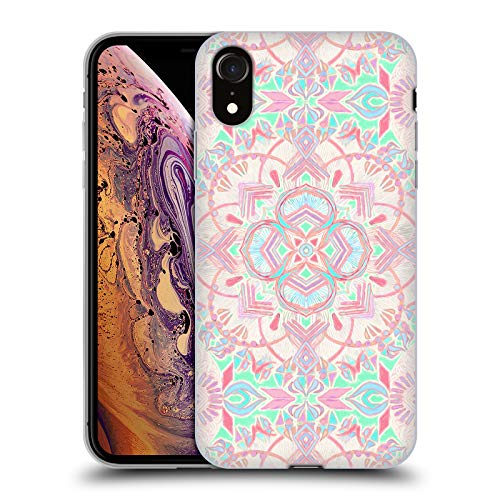 Official Micklyn Le Feuvre Mint and Blush Pink Painted Mandala 2 Soft Gel Case Compatible for iPhone XR ()