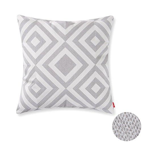 baibu Cotton Geometric Pattern Embroidery Decor Throw Pillow Case Squares Cushion Cover Grey - Pattern Cushion